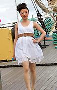 1/7/2011.no charge for repro.Serena Gao pictured at the Fashion Show on board the Mir Tall Ship.Picture Dylan Vaughan