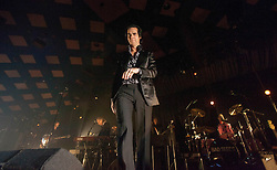 A wide shot of frontman Nick Cave, of Nick Cave and the Bad Seeds, on stage tonight at The Barrowlands, Glasgow, Scotland.<br /> &copy;Michael Schofield.