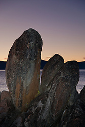 """Tahoe Boulders at Sunset 1"" - These boulders were photographed near Secret Cove, Lake Tahoe at sunset."