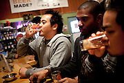 Laurence Esguerra samples beer at Mammoth Brewing Company in Mammoth Lakes, Calif., January 28, 2011.