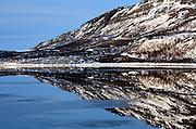 NORWAY FINNMARK 25MAR07 - Roddinessjoen Fjord in Finnmark, Norway's northermost Arctic province.<br /> Photography by Jiri Rezac<br /> Tel 0044 07947 884 517<br /> www.linkphotographers.com
