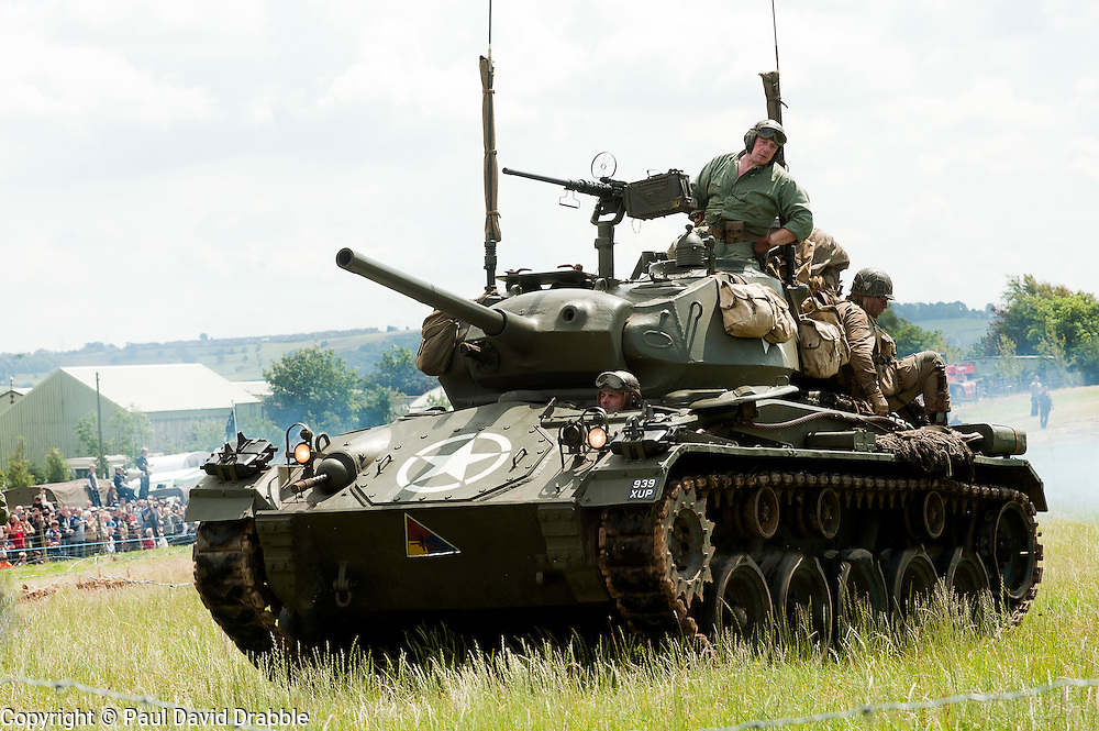 A US M24 Chaffee Light Tank of the 2nd armoured division at Spam 1940s Wartime Weekend Heckmondwike <br /> 9th July 2011.<br /> Images &copy; Paul David Drabble