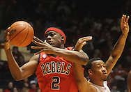 Mississippi's Reginald Buckner (2) is fouled by LSU's Aaron Dotson during an NCAA college basketball game in Oxford, Miss., on Thursday, March 4, 2010. Ole Miss won 72-59.