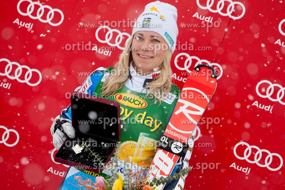 HANSDOTTERFrida of Sweden during flover ceremony of 50th Golden Fox Audi Alpine FIS Ski World Cup Ladies Slalom, on February 2, 2014 in Podkoren, Kranjska Gora, Slovenia. (Photo By Urban Urbanc / Sportida.com)