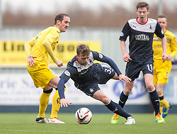 Queen of the South's Mark Kerr and Falkirk's Rory Loy.<br /> Falkirk 1 v 0 Queen of the South, Scottish Championship game today at the Falkirk Stadium.<br /> &copy; Michael Schofield.