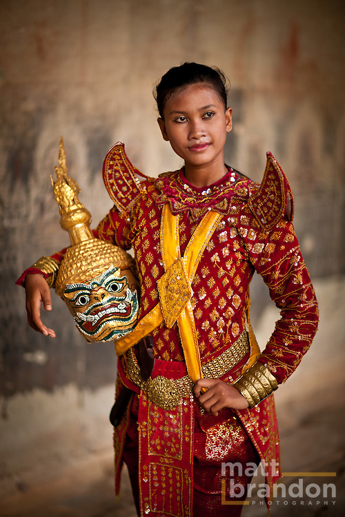 Ravana, portrayed by Rechana, a beautiful young Cambodian woman in Angkor Wat Temple.