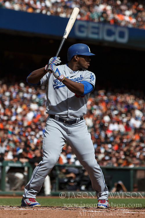SAN FRANCISCO, CA - OCTOBER 02: Yasiel Puig #66 of the Los Angeles Dodgers at bat against the San Francisco Giants during the second inning at AT&T Park on October 2, 2016 in San Francisco, California. The San Francisco Giants defeated the Los Angeles Dodgers 7-1. (Photo by Jason O. Watson/Getty Images) *** Local Caption *** Yasiel Puig