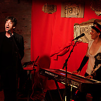 Amanda Palmer formerly of Dresden Dolls with her husband Neil Gaiman at The Loft in Brooklyn on May 31, 2012 celebrates her triumph raising funds for her new album on Kickstarter.com..Photo Credit ; Rahav Iggy Segev for The New York Times..