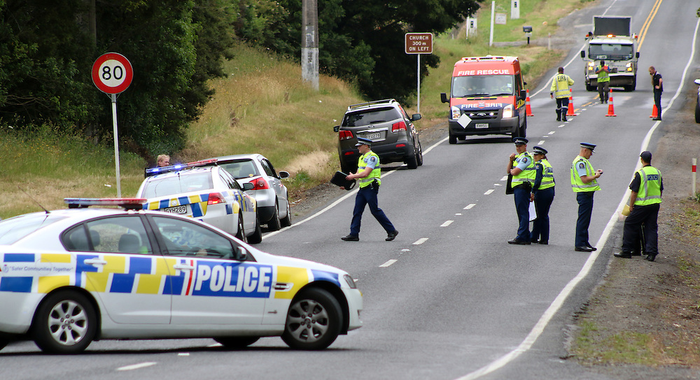 Police and emergency services are in attendance after single car has gone through a fence killing the sole occupant in Alfriston Road, Auckland, New Zealand, Wednesday, December 10, 2014.  Credit:SNPA / Daniel Hines