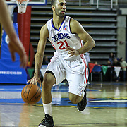 Delaware 87ers Guard Kendall Marshall (21) drives towards the basket in the first half of a NBA D-league regular season basketball game between Delaware 87ers and Idaho Stampede Thursday, Dec. 12, 2013 at The Bob Carpenter Sports Convocation Center, Newark, DE.<br />