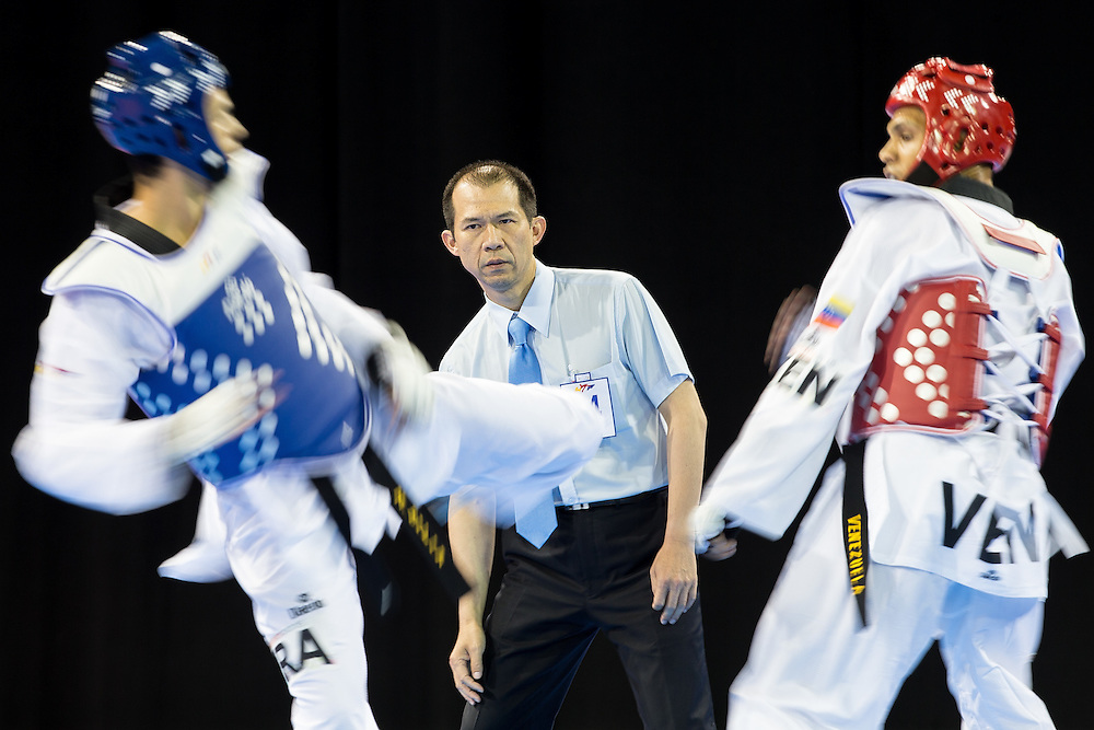 in women's taekwondo -67 kg division at the 2015 Pan American Games in Toronto, Canada, July 21,  2015.  AFP PHOTO/GEOFF ROBINS