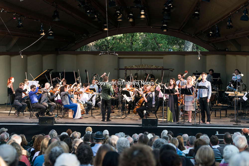 Joshua Gersen conducts the MMDG Music Ensemble in works by Henry Cowell at Libbey Bowl on June 9, 2013 in Ojai, California.