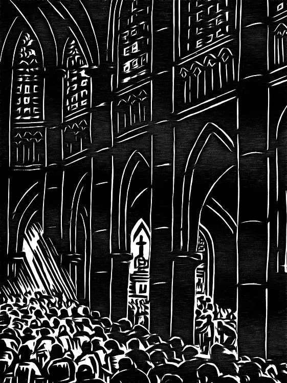 A black / white drawing of a mass in the cathedral