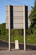 Rear of a road sign at the A40 , A436 roundabout at Seven Springs, Gloucestershire