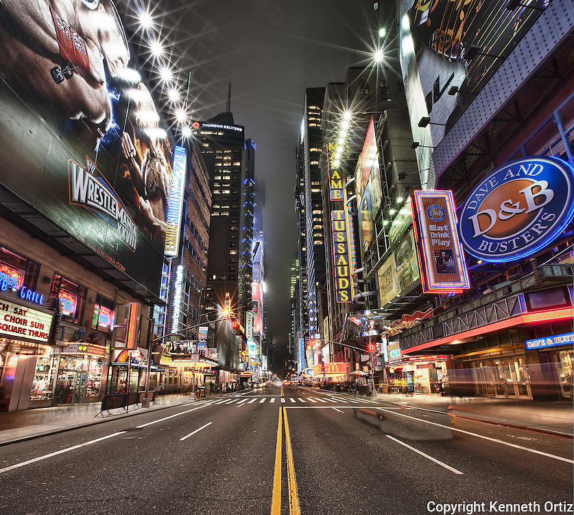 This is a shot of 42nd Street and Times Square. I made this photograph using a combination of twelve images into one.