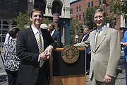 Kentucky Governor Steve Beshear and Louisville Mayor Greg Fischer join Michter's Distillery President Joseph J. Magliocco at a news conference Wednesday, July 6, 2011 to announce plans to open a distillery in the historic Fort Nelson Building in downtown Louisville, Ky., across from the Louisville Slugger Museum and Factory by spring 2013. (Michter's Photo by Brian Bohannon)