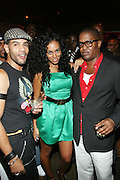 l to r; Guest, Solange Knowles, and Courtney Anderson at Solange Knowles NYC Album release party held at Butter in New York City on September 5, 2008