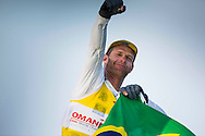 The Laser World Championships 2013 -  Standard. Mussanah Oman<br /> The final day of racing, Robert Scheidt (BRA) shown here celebrating after winning the championships<br /> Credit: Lloyd Images.