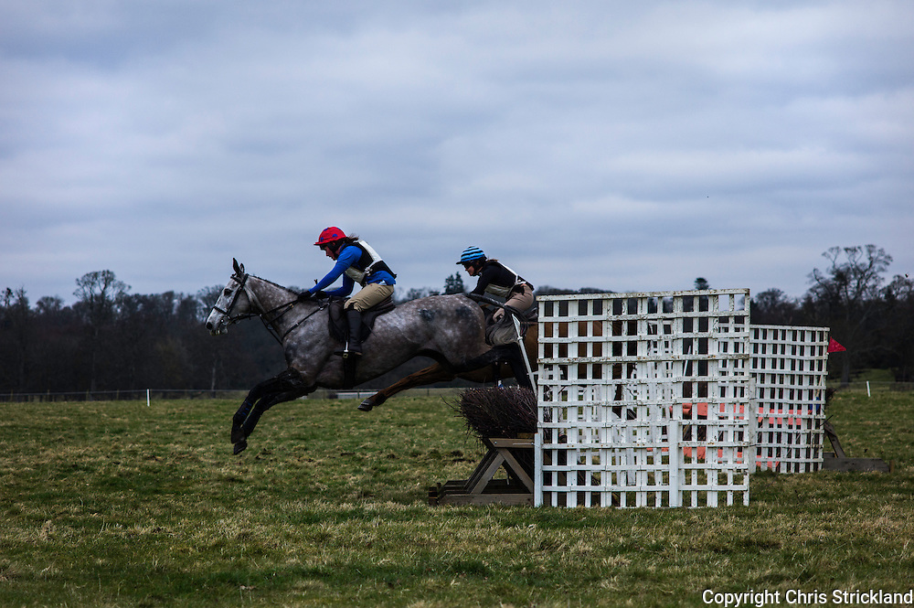 Kelly Bryson on the grey Bewise leads over the last, however, Joanna Walton and Ginny closed the gap to win. The Jed finished with a first and second and dominated the race in all departments..
