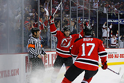 Jan 2, 2009; Newark, NJ, USA; New Jersey Devils center John Madden (11) and New Jersey Devils left wing Mike Rupp (17) celebrate Madden's goal during the second period at the Prudential Center.