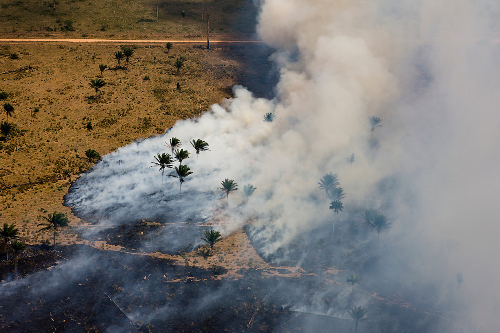 Fires burn the ground of what was once Amazon rainforest for cattle ranching in Sao Felix Do Xingu municipality, in Para State, Brazil, August 12, 2008..Daniel Beltra/Greenpeace
