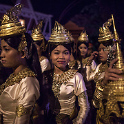 Cambodian dancers in traditional costume gather during early morning hours outside the former National Assembly prior to funeral services for former Cambodian King Norodom Sihanouk Friday, Feb. 1, 2013 in Phnom Penh.