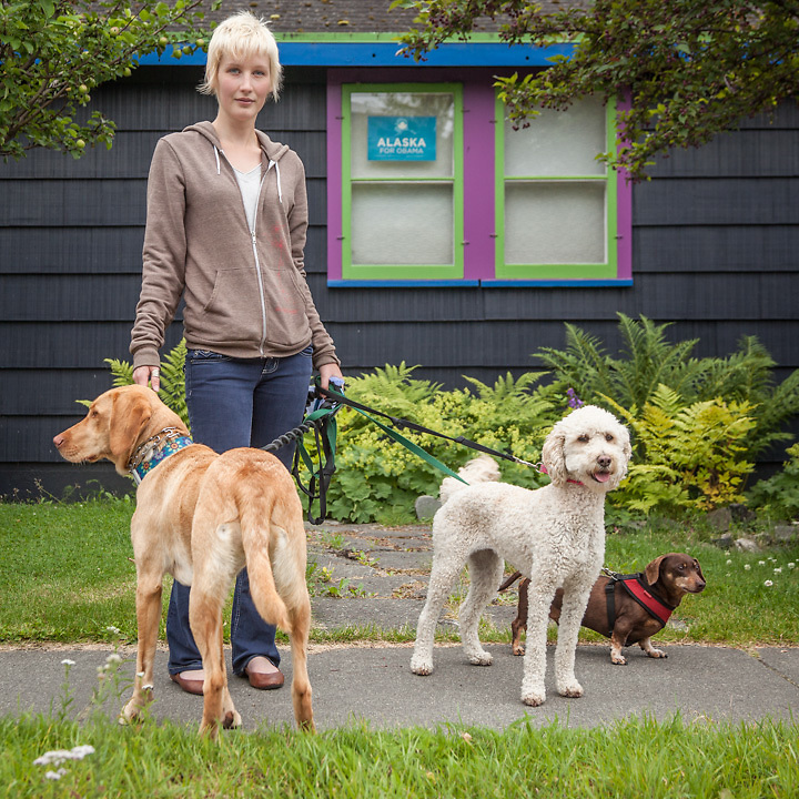 """Recent college graduate and dog walker Janna Christen near the corners of 13th Ave. and G Street in Anchorage's South Addition neighborhood  christen.janna@gmail.com  """"I'm saving my money so I can travel to China."""""""
