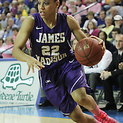 James Madison Guard Tarik Hislop (22) drives the lane in the second half of a regular season NCAA basketball game against Delaware Sunday, Feb 24, 2013 at the Bob Carpenter Center in Newark Delaware.