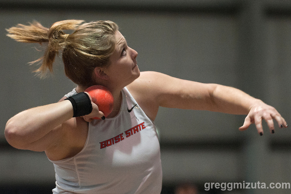 Boise State University's Lacie Rasley prepares competes in the New Balance Boise Indoor Women Shot Put College/Open at Idaho Center's Jackson Track, Nampa, Idaho, February 7, 2015. Rasley finished seventh with a mark of 13.43m (44-00.75).