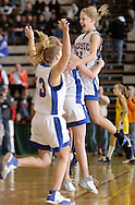 Troy, NY - Hoosic Valley girls' basketball players celebrate their victory at the Class B state semifinals at Hudson Valley Community College on March 14, 2008. ©Tom Bushey / The Image Works