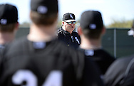 GLENDALE, AZ - FEBRUARY 24:  Pitching coach Don Cooper of the Chicago White Sox talks to the pitching staff during spring training workouts on February 24, 2015 at The Ballpark at Camelback Ranch in Glendale, Arizona. (Photo by Ron Vesely)   Subject:   Don Cooper