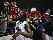 "Mississippi's Terrance Henry (1) cheers towards the student section following the game against Mississippi State at the C.M. ""Tad"" Smith Coliseum in Oxford, Miss. on Wednesday, January 18, 2012. Mississippi won 75-68. (AP Photo/Oxford Eagle, Bruce Newman)."