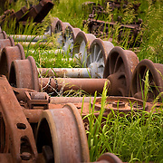 USA, Colorado, Golden. Historic railroad wheels at the Colorado Railroad Museum.