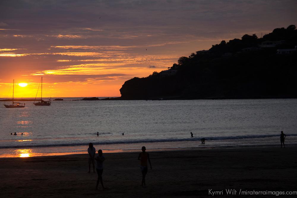 Central America, Nicaragua, San Juan del Sur. Sunset at San Juan del Sur.