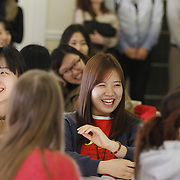 The University of Louisiana at Monroe welcomes 45 new Korean students to the ULM Family during a reception at the Anna Gray Noe Alumni Center on Wednesday, Jan. 15, 2014. The students are from Hanbat University,  Geumgang University, and Chungbook University and will engage in a seven-week intensive ESL and internship program, and a semester visiting program. Photos by: Terrance Armstard/ULM Photo Services