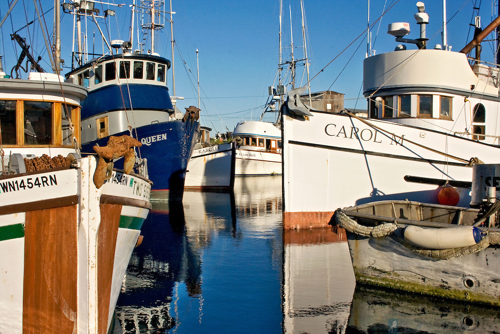 Fishing boats docked at the commercial vessel section of the Port of Port Townsen's Boat Haven