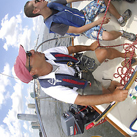 New York. August 22, 2006. Manhattan Sailing School is the largest and most active sailing school in the tri-state region. From end of May to end of September, New Yorkers can learn the Basic Sailing skills, and obtain their American Sailing Association certification.&nbsp;Using J/24 sailboats in the New York Harbor, the School teaches the students ( from teens to busy professionals) the basics in 20 to 22 hours during a weekend. Classes are also offered at the Shipyard Marina (Hoboken) and Liberty Harbor (Jersey City). Pictured sailing instructor BERT COHEN<br />