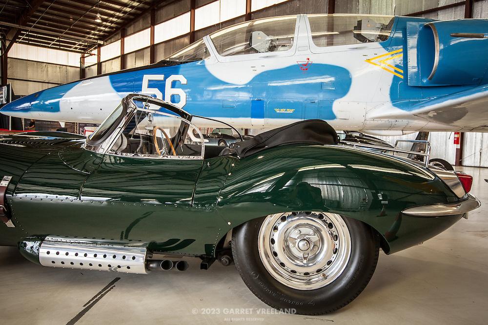 "Steve McQueen's ""Green Rat"" Jaguar XKSS and jet cockpits, Planes and Cars at the Santa Fe Airport, 2013 Santa Fe Concorso."