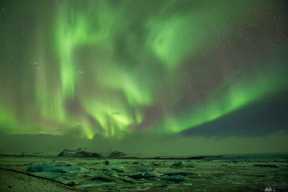Northern Lights over Jökulsárlón Lagoon
