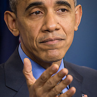 U.S. President Barack Obama gives his final end of year news conference in the Brady press briefing room at the White House Dec 18, 2015. Photo Ken Cedeno