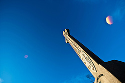 Celtic Cross on the Edinburgh Castle esplanade. .Edinburgh in the December sunlight..Pic © Michael Schofield.