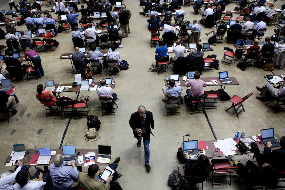 The media area at the Republican presidential debate on Thursday, August 11, 2011 in Ames, IA.