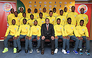 CAPE TOWN, SOUTH AFRICA - Sunday 27 September 2015: the South African team with Dr Danny Jordaan (SAFA President) after the post-match press conference during the U17 International friendly soccer match between South Africa v Chile at Athlete Stadium. (Photo by Roger Sedres/ImageSA)