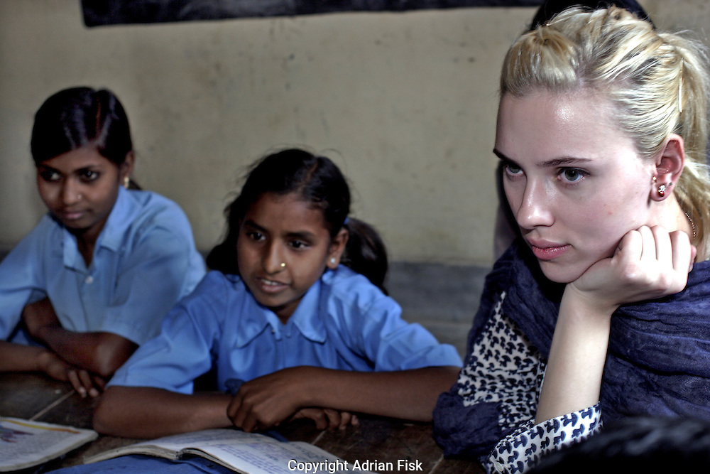 Scarlett listens in on a lesson at the Purvaiachal dalit Balika school in Ghazipur district.
