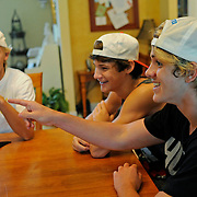 "John Stephen Grice, left to right, Baylor Barnes and Cole LaBrant answer questions during an interview in Troy, Ala., Wednesday, July 31, 2013. The trio makes up the group ""Dem White Boyz,"" which has gained wide popularity on the social networking site ""Vine"". (Photo/Thomas Graning)"