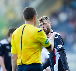 Falkirk's Rory Loy not happy with Ref Kevin Graham.<br /> Falkirk 1v 1 Dumbarton, Scottish Championship game played 20/9/2014 at The Falkirk Stadium .