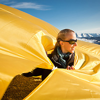 Chilean architech Sofia von ellrichshausen assists with assembling her Soft Pavilion instalation atop Blueberry Hill overlooking Anchorage in Chugach State Park on April 14, 2011