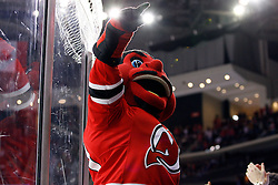 Jan 21, 2008; Newark, NJ, USA; The New Jersey Devils mascot cheers after a goal by New Jersey Devils defenseman Paul Martin (7) during the first period of the Devils game against the Montreal Canadiens at the Prudential Center.