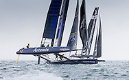 Image licensed to Lloyd Images. Free for editorial use. <br /> Pictures of Official Practice Day 24.07.15 - Artemis Racing skippered by Nathan Outteridge &amp; Softbank Team Japan skippered by Dean Baker <br /> Credit: Lloyd Images
