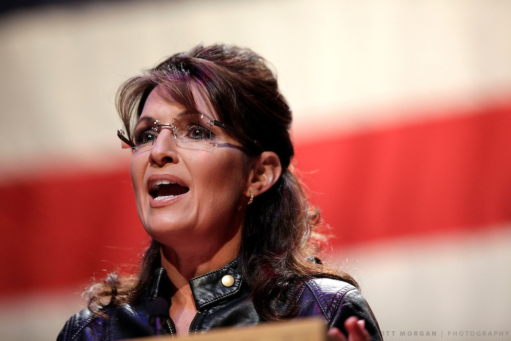 "SCOTT MORGAN | ROCKFORD REGISTER STAR.Former Republican vice presidential nominee Sarah Palin speaks Wednesday, May 12, 2010, during ""An Evening with Sarah Palin"" at the Rosemont Theatre in Rosemont, Ill."